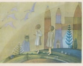 Vintage Lithuanian Postcard, Drawing by K. Simonis (Birds are Flying) -- 1960s