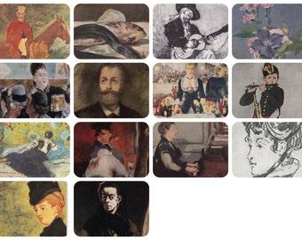 Edouard Manet. Set of 14 Vintage Prints, Postcards -- 1960s-1980s
