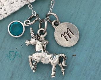 Unicorn Charm Necklace, Personalized Necklace, Silver Pewter Unicorn Charm, Custom Necklace, Swarovski Crystal birthstone, monogram