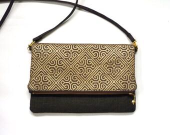 Crossbody bag, gold and brown clutch, metallic bag, foldover clutch, evening purse, geometric chocolate moroccan, zipper purse