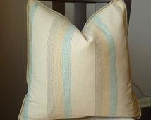 Duck Egg Blue Natural Beige Stripes Throw Pillow Textured Cushion Cover Striped Linen Cotton Designer Pillow