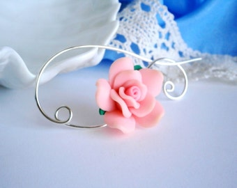 Shawl Pin, Scarf Pin , Pink Flower brooch, Wire Wrapped Jewelry, Pin for knitters, Wirework