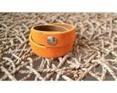 Double Wrap Cuff Bracelet - Fuzzy Yellow Cuff - Size LARGE
