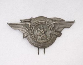 Vintage 1940s WWII Era Saint Christopher Be My Guide - Automobile Sun Visor Pin