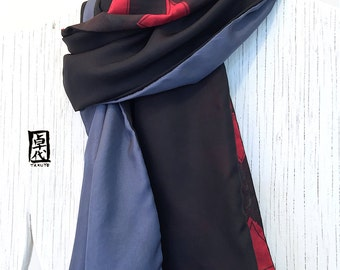 Mens Gift, Silk Scarf Men, Mens Silk Scarf Handpainted, Reversible Winter Scarf, Red and Black Japanese Geometric Scarf, 14x72 inches.