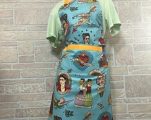 Frida Kahlo apron Chef full apron 3 in 1 apron