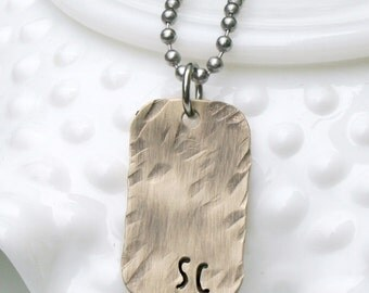 Fathers Day Idea - Personalized Men's Dog Tag Necklace - Rustic Men's Jewelry - Men's Initial Necklace - Hand Stamped Men's Necklace