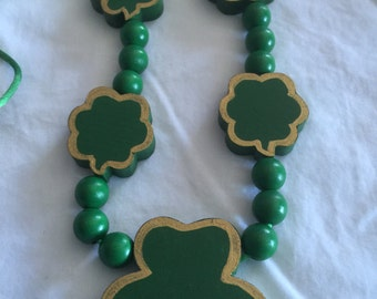 Shamrock Wooden Necklace
