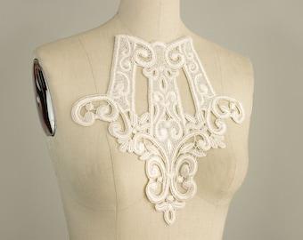 Ivory Venice Lace Applique Collar / Also Black & White / Victorian / Rayon / Venetian Lace / Neckline / Bridal / Fashion Design / Costume