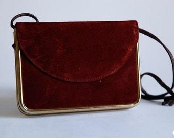 Vintage 80s Red Wine Burgundy Suede Shoulder Evening Bag Purse