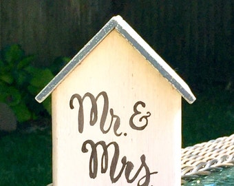 Wedding Sign, Nantucket Gray + White, Mr. & Mrs. Cottage, Rustic Table Decor