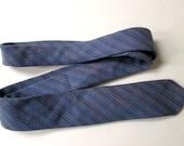 Cotton Necktie Vicky Davis mens tie skinny necktie preppy ivy league blue green stripe woven herringbone vintage 80s 90s designer tie