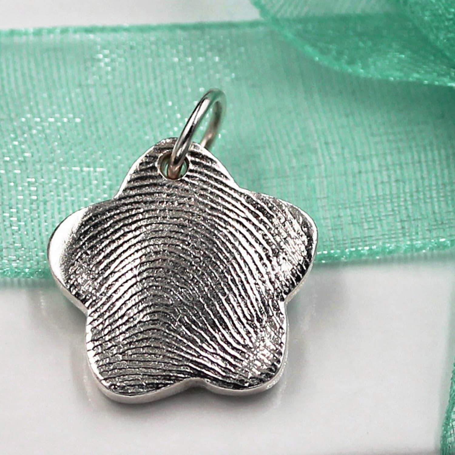 Flower Fingerprint Charm Jewelry Custom Made Keepsake Of Pure