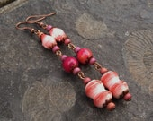 Paper and pink agate earrings ~ One of a kind paper bead jewelry