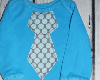 6M Aqua Blue Bodysuit: Gray/Blue Polka Dot Tie