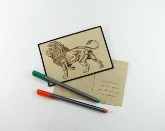 Lion Postcard - Wood Pyrography - Vintage Lion Wood Postcard