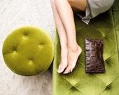 Slim Gator Clutch. Embossed Leather Bag. Alligator Purse. Dark Brown Leather Clutch. Leather Evening Clutch