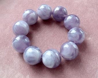 Marbled Purple Lucite Bracelet Beaded Stretch Retro