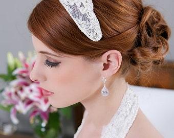 Ivory Lace Cap, Ivory Headpiece, Vintage Lace Headband, Lace Crown, Ivory Veil Cap, Wedding Headpiece, Princess Grace - STYLE 194