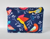 Woman's beauty bag jewel tone travel padded make up cosmetics pouch exotic birds wildlife print deep royal blue,yellow,pink and white