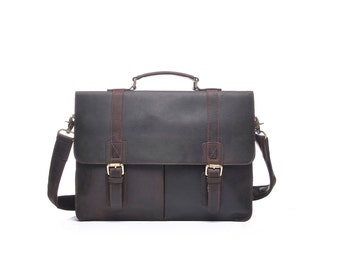 "Large dark brown leather laptop bag with buckle flaps / handmade leather laptop bag / 15"" laptop leather bag"
