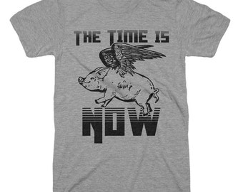 The Time Is Now T Shirt Flying Pig T Shirt - Funny Tshirts For Geeks Gifts Mens Tshirts Ladies Tees Kids Tees Pig Wings T shirt Unisex Shirt
