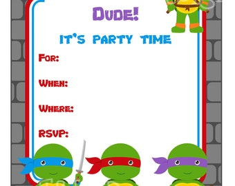 Ninja Turtle Party Invitation, Ninja Turtle Party, Printable, Instant Download, Digital