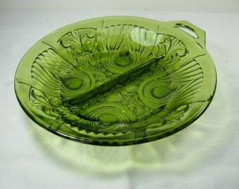 Vintage RELISH DISH Divided Nuts Candy Avocado Green Indiana Glass