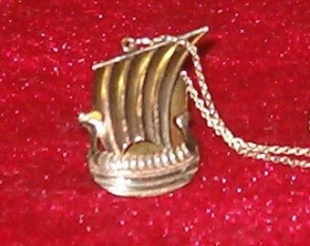 "SALE!  Silver Viking Ship Pendant 1.5""L w Chain16.6""L"
