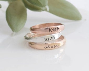 Engraved ring - Engraved wedding band - Stacking rings - 4236