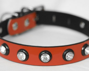 """Red Dog Collar with Jewels, Bright Red Dog Collar, Valentines dog collar, Waterproof Dog Collar, Large Dog Collar 18-22"""""""