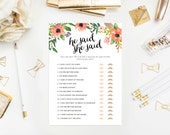 Instant Download - Boho Bride He Said She Said Game Cards