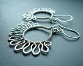 Wire Wrapped Earrings - Art Nouveau Earrings - Sterling Silver Earrings - Wire Wrapped Jewelry - Fan earrings - Unusual Jewellery