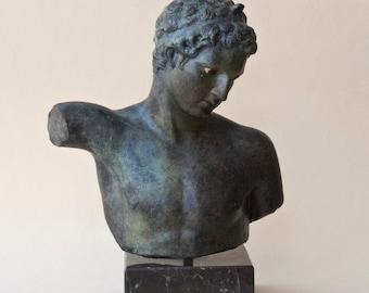 Metal Bronze Man Bust Sculpture Statue Ancient Greek Art, Sculpture Art, Unique Art Gift, Greek Decor, Marathon Boy Statue Museum Replica