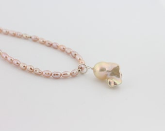 Fireball pearl necklace, blush, nucleated, flameball, freshwater pearls, handcrafted: Simply Adorned