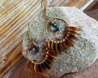 Jangle. Hammered Artisan Boho Gold Brass Chandelier Drop Earrings with Wire Wrapped Grey Blue Quartz Gemstones-Boho Gypsy Vintage Charm