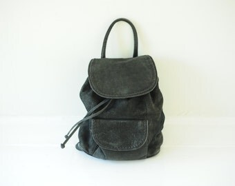 Vintage Black Leather Cinch Top Backpack