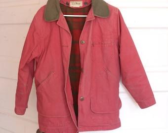 Vintage LL Bean Red Canvas Jacket Barn Coat with Wool Liner, Womens Medium Petite / ITEM505