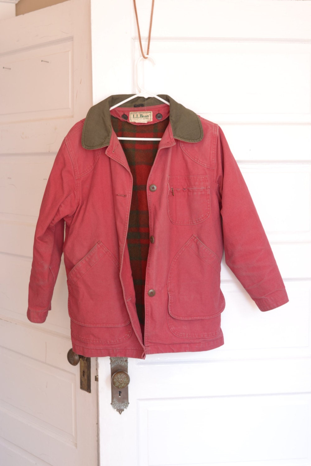 Vintage LL Bean Red Canvas Jacket Barn Coat with Wool Liner