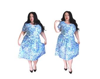 Plus Size Dress l Vintage 1980's Floral Watercolor Dress l Size 1X l Vintage Dress
