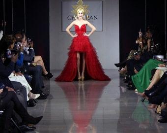 Firebird Ballet Red Feather Corset Tulle High Low Waterfall Hem Gown