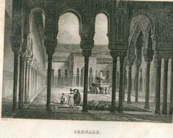 1856 Antique Engraving Alhambra Granada Spain Islamic Architecture Court of the Lions and Fountain Black and White Print