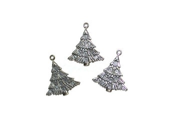 Silvertone Christmas Tree Charms Discount Lot of Charms Supplies Jewelry Supplies Set of Three