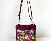 Burgundy Floral Crossbody Bag Two in One Adjustable Strap Shoulder Bag with Zippers and Pockets