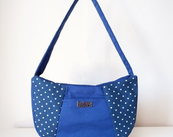 Handbag / Shoulder Bag / Hobo Bag for Women with Pocket and Zipper with One Shoulder Strap in Navy and White