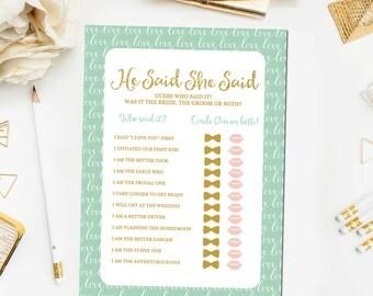 Mint and Gold Bridal Shower He Said She Said Bridal Shower Game, Printable Gold Mint He Said She Said Bridal Shower Game Download BR29