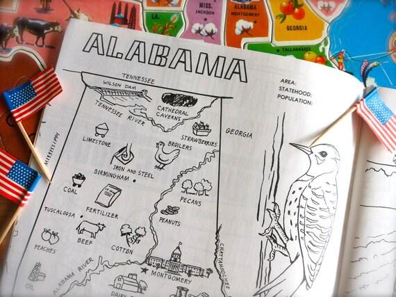 Alabama Vintage Alabama estado mapa de 1980 para colorear