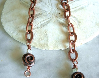 Copper Chain Dangle Earrings with Sterling Silver Nuggets - Gift Under 20.00 - Matching Necklace