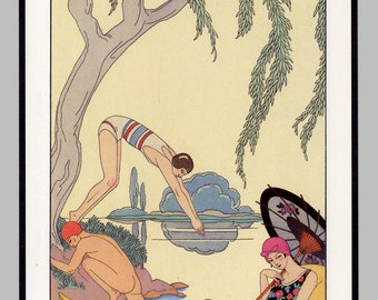 Nude Girl Swimming, Skinny Dipping, French Art Deco Bedroom Print for Guest Room Makeover, Art Deco Print Powder Room Summer Decoration