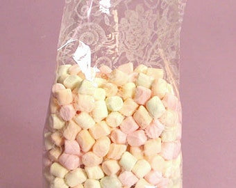 """Large """"WHITE LACE"""" Print Cello Treat Snack Goodie Bags Cellophane Baggies (Free Shipping!)"""